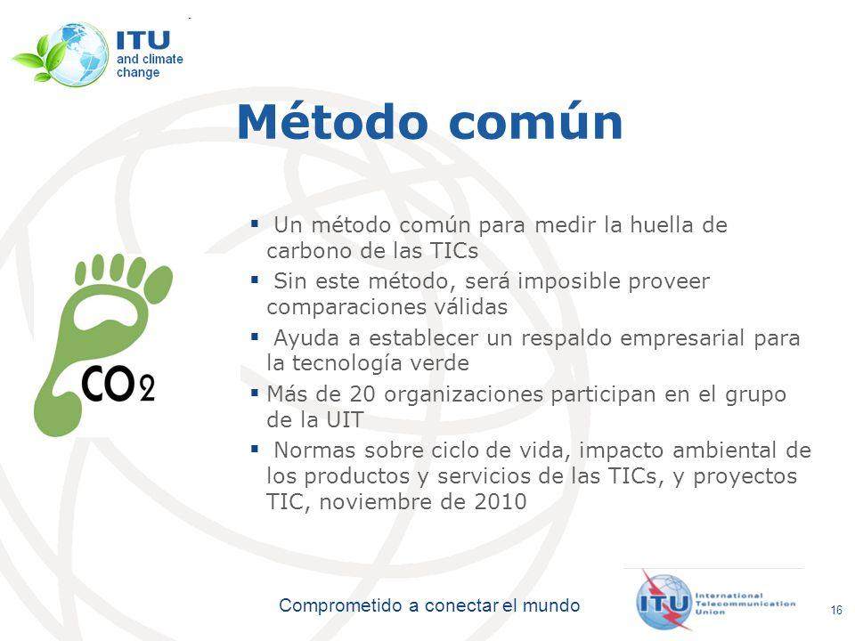 International Telecommunication Union Comprometido a conectar el mundo Método común Un método común para medir la huella de carbono de las TICs Sin es