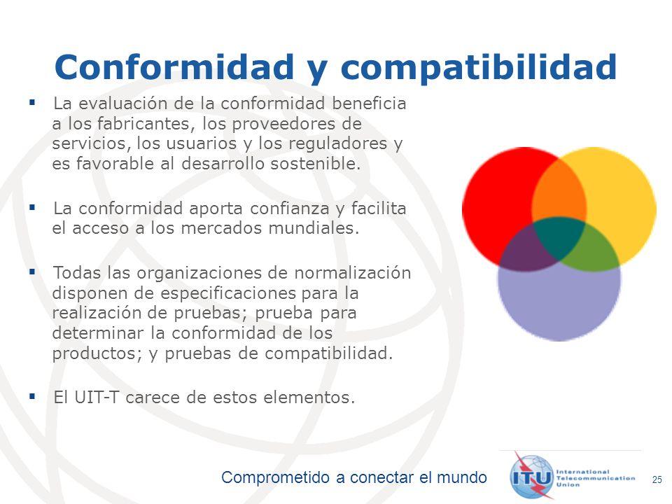 Comprometido a conectar el mundo 25 La evaluación de la conformidad beneficia a los fabricantes, los proveedores de servicios, los usuarios y los regu