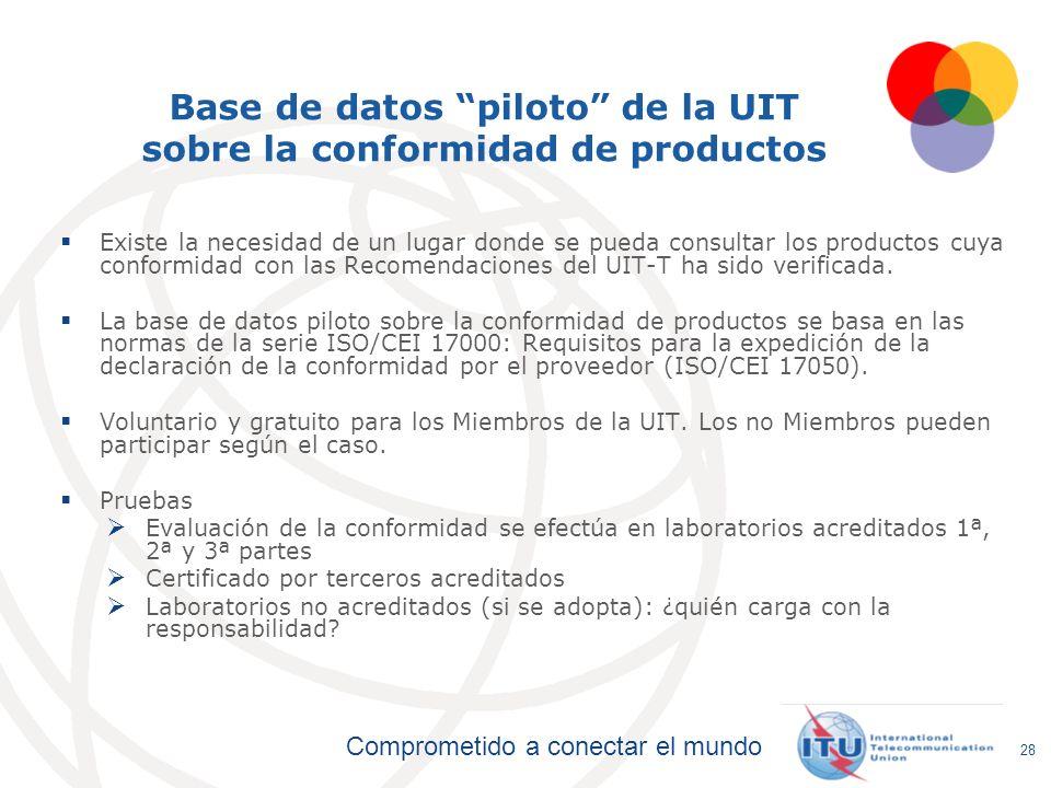 Comprometido a conectar el mundo Base de datos piloto de la UIT sobre la conformidad de productos Existe la necesidad de un lugar donde se pueda consu