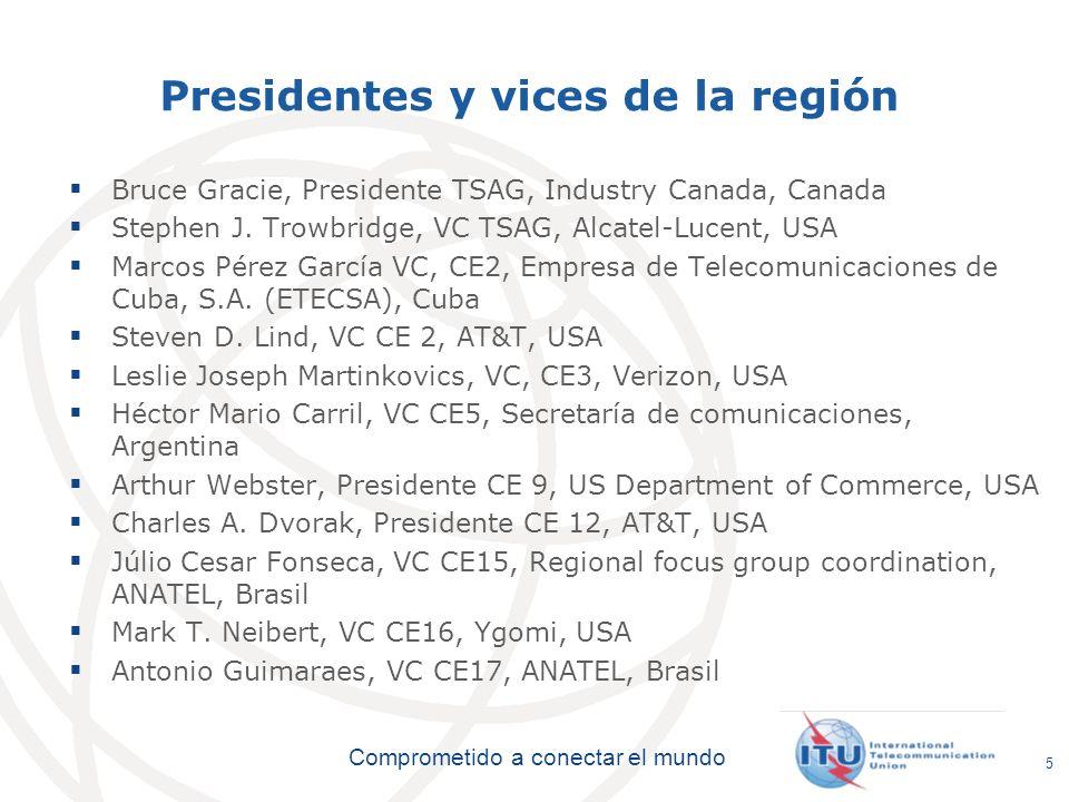 International Telecommunication Union Comprometido a conectar el mundo Presidentes y vices de la región Bruce Gracie, Presidente TSAG, Industry Canada