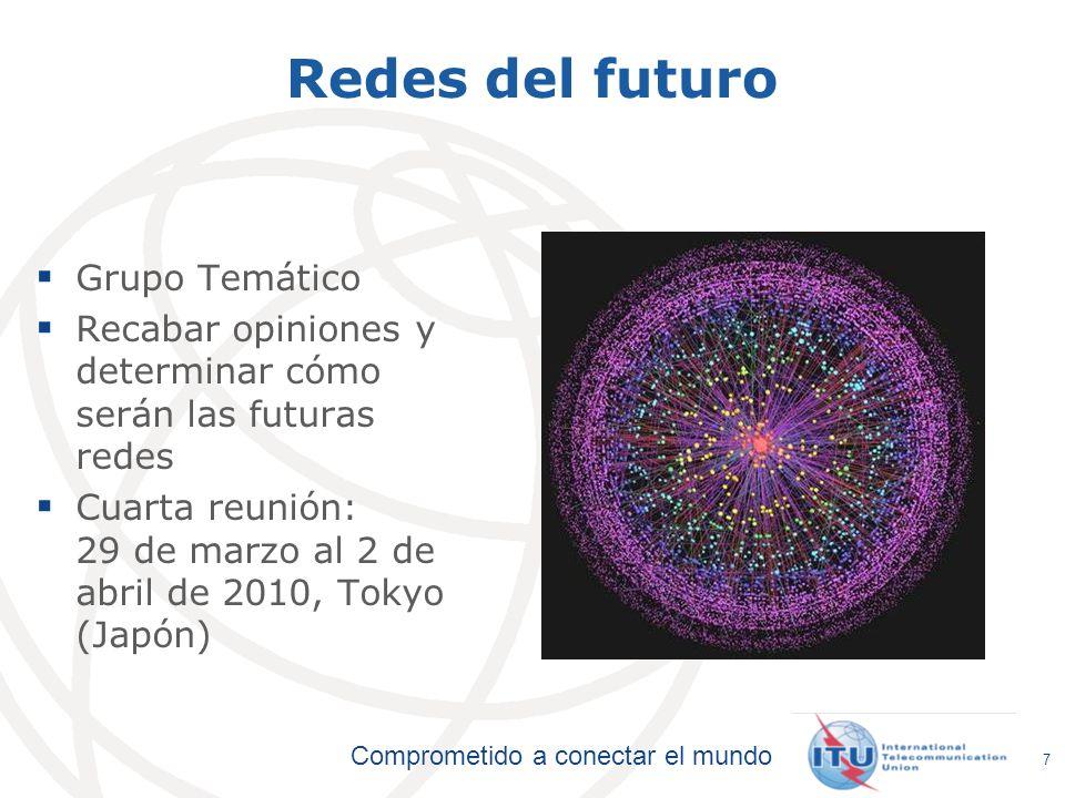 Comprometido a conectar el mundo 7 Redes del futuro Grupo Temático Recabar opiniones y determinar cómo serán las futuras redes Cuarta reunión: 29 de m