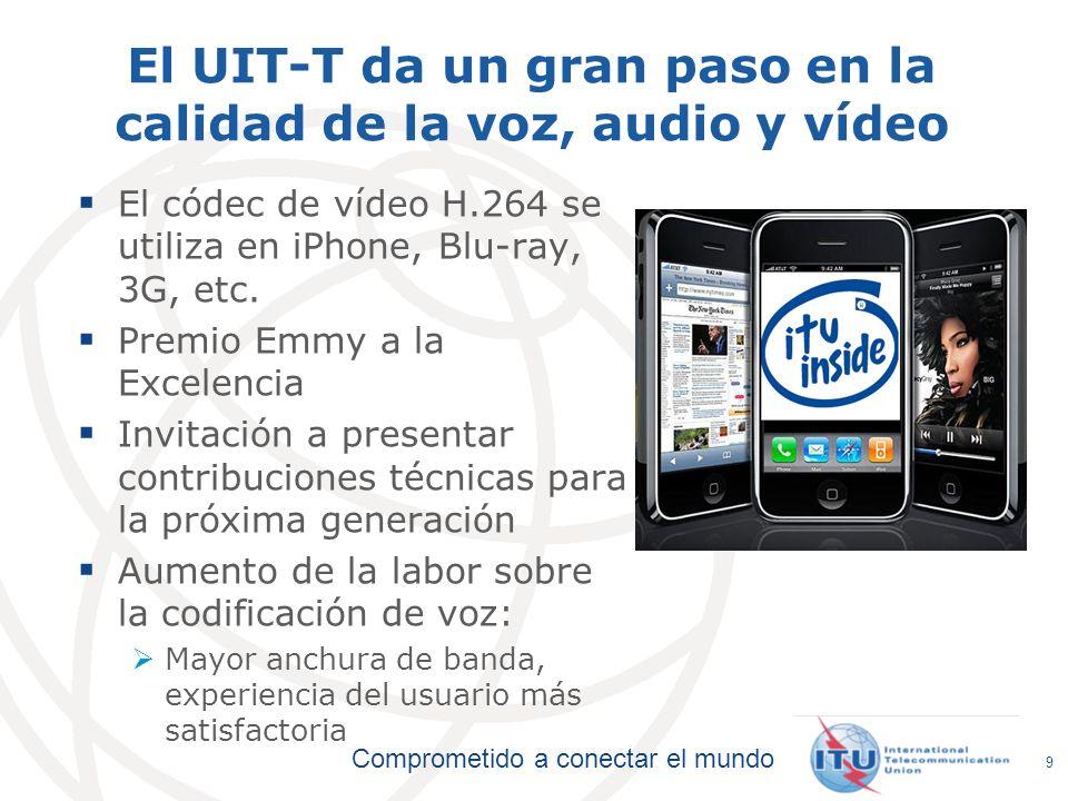 Comprometido a conectar el mundo 9 El UIT-T da un gran paso en la calidad de la voz, audio y vídeo El códec de vídeo H.264 se utiliza en iPhone, Blu-r