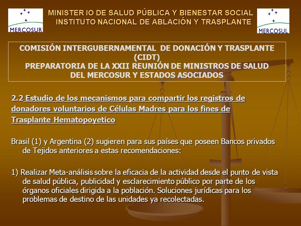 MINISTER IO DE SALUD PÚBLICA Y BIENESTAR SOCIAL INSTITUTO NACIONAL DE ABLACIÓN Y TRASPLANTE 2.2 Estudio de los mecanismos para compartir los registros de donadores voluntarios de Células Madres para los fines de Trasplante Hematopoyetico Brasil (1) y Argentina (2) sugieren para sus países que poseen Bancos privados de Tejidos anteriores a estas recomendaciones: 1) Realizar Meta-análisis sobre la eficacia de la actividad desde el punto de vista de salud pública, publicidad y esclarecimiento público por parte de los órganos oficiales dirigida a la población.