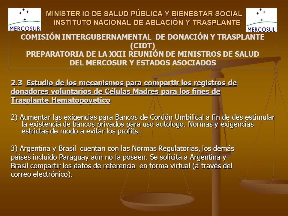 MINISTER IO DE SALUD PÚBLICA Y BIENESTAR SOCIAL INSTITUTO NACIONAL DE ABLACIÓN Y TRASPLANTE 2.3 Estudio de los mecanismos para compartir los registros