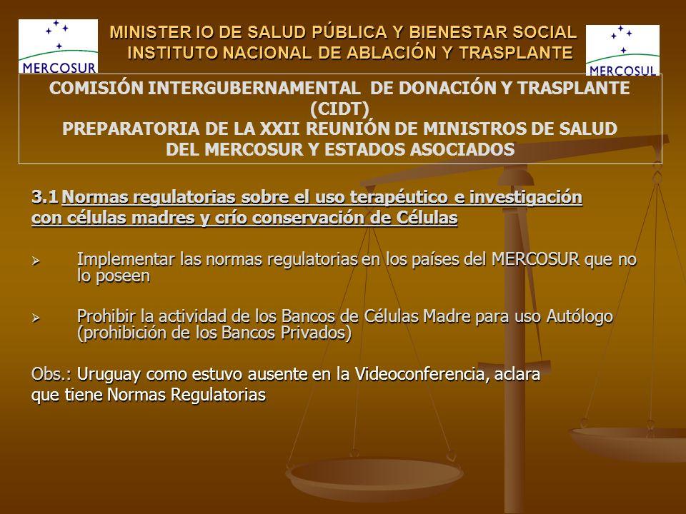 MINISTER IO DE SALUD PÚBLICA Y BIENESTAR SOCIAL INSTITUTO NACIONAL DE ABLACIÓN Y TRASPLANTE 3.1 Normas regulatorias sobre el uso terapéutico e investi