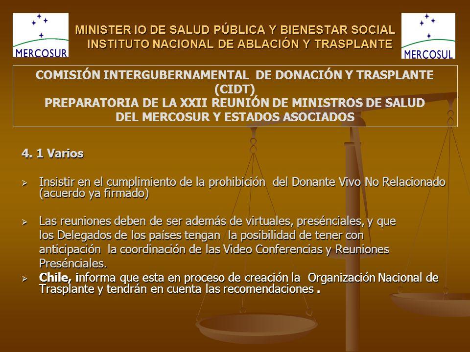 MINISTER IO DE SALUD PÚBLICA Y BIENESTAR SOCIAL INSTITUTO NACIONAL DE ABLACIÓN Y TRASPLANTE 4.