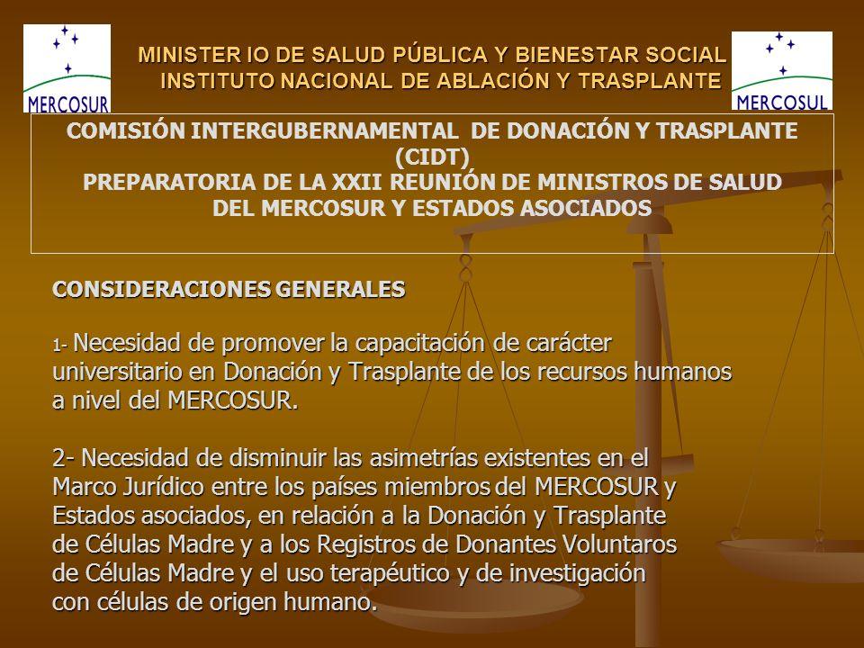 MINISTER IO DE SALUD PÚBLICA Y BIENESTAR SOCIAL INSTITUTO NACIONAL DE ABLACIÓN Y TRASPLANTE CONSIDERACIONES GENERALES 1- Necesidad de promover la capa