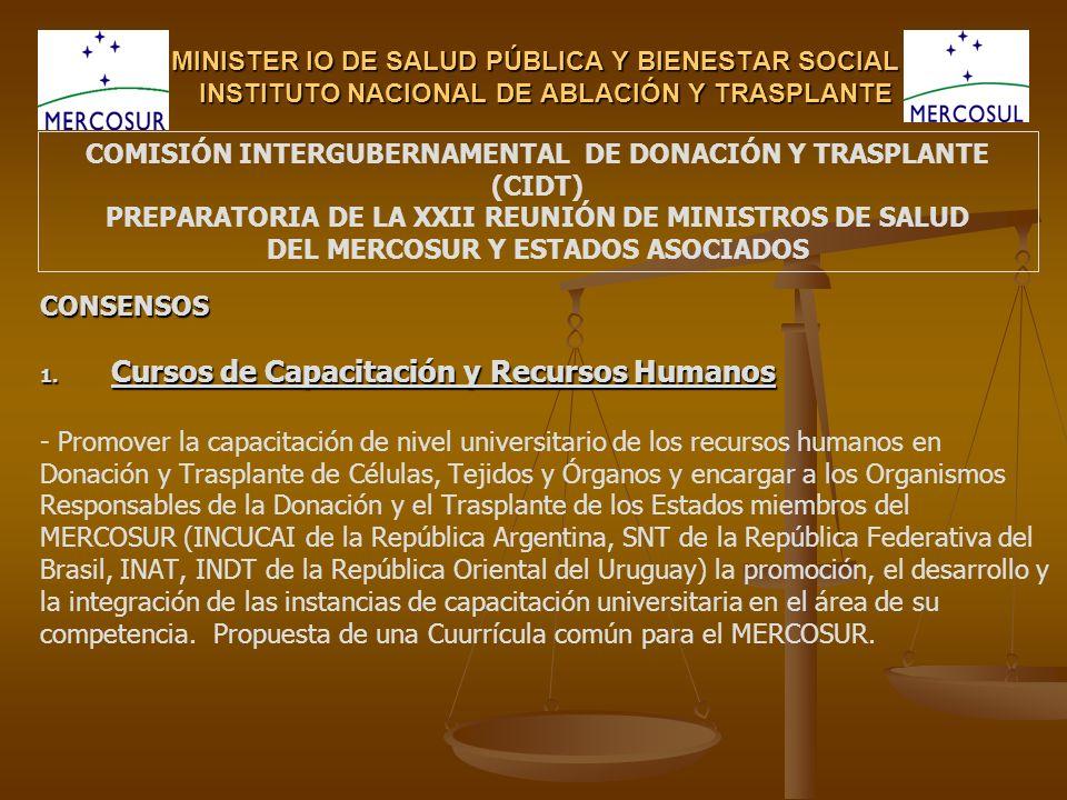 MINISTER IO DE SALUD PÚBLICA Y BIENESTAR SOCIAL INSTITUTO NACIONAL DE ABLACIÓN Y TRASPLANTE CONSENSOS 1.