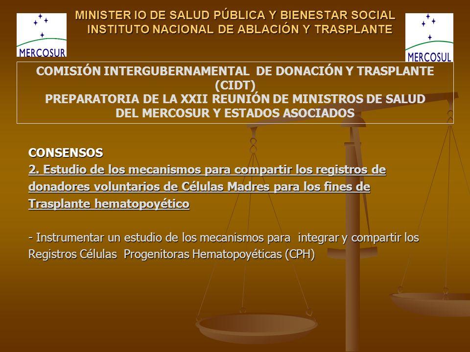 MINISTER IO DE SALUD PÚBLICA Y BIENESTAR SOCIAL INSTITUTO NACIONAL DE ABLACIÓN Y TRASPLANTE CONSENSOS 2. Estudio de los mecanismos para compartir los