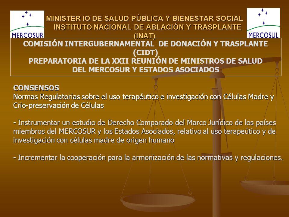 MINISTER IO DE SALUD PÚBLICA Y BIENESTAR SOCIAL INSTITUTO NACIONAL DE ABLACIÓN Y TRASPLANTE (INAT) CONSENSOS Normas Regulatorias sobre el uso terapéut