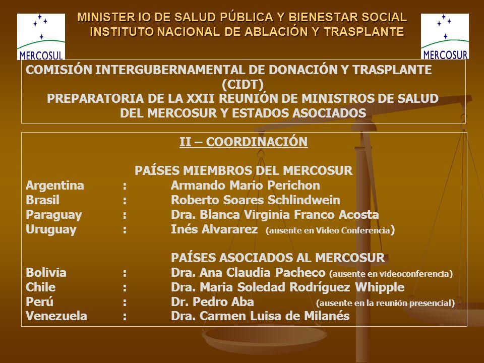 MINISTER IO DE SALUD PÚBLICA Y BIENESTAR SOCIAL INSTITUTO NACIONAL DE ABLACIÓN Y TRASPLANTE II – COORDINACIÓN PAÍSES MIEMBROS DEL MERCOSUR Argentina:Armando Mario Perichon Brasil:Roberto Soares Schlindwein Paraguay:Dra.