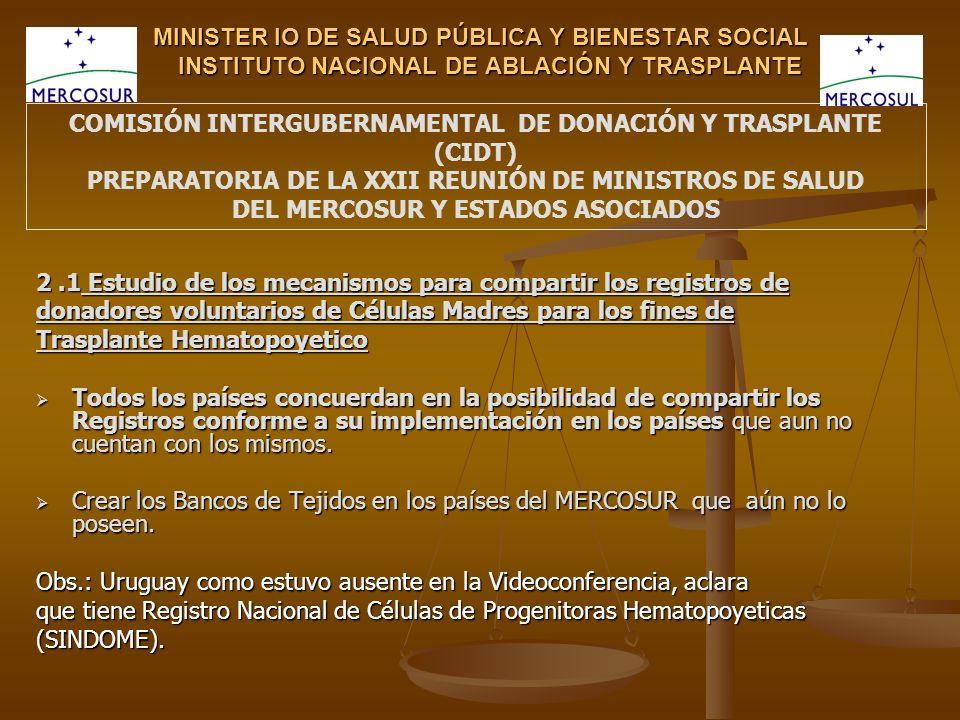 MINISTER IO DE SALUD PÚBLICA Y BIENESTAR SOCIAL INSTITUTO NACIONAL DE ABLACIÓN Y TRASPLANTE 2.1 Estudio de los mecanismos para compartir los registros
