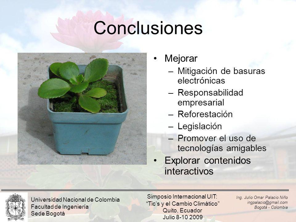Conclusiones Mejorar –Mitigación de basuras electrónicas –Responsabilidad empresarial –Reforestación –Legislación –Promover el uso de tecnologías amig