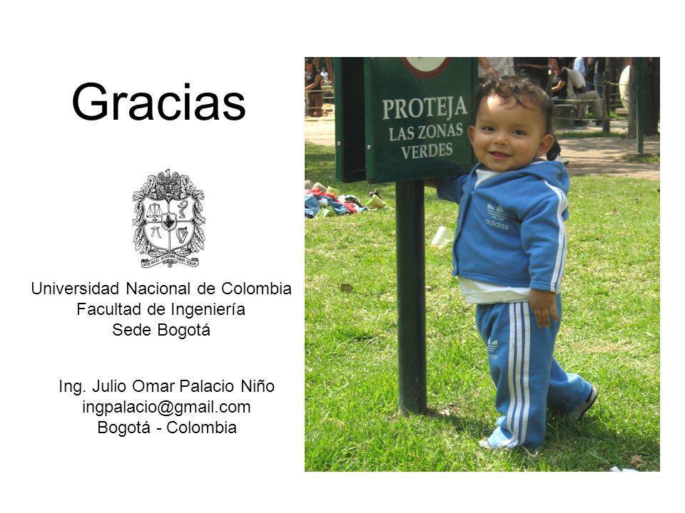 Gracias Universidad Nacional de Colombia Facultad de Ingeniería Sede Bogotá Ing. Julio Omar Palacio Niño ingpalacio@gmail.com Bogotá - Colombia