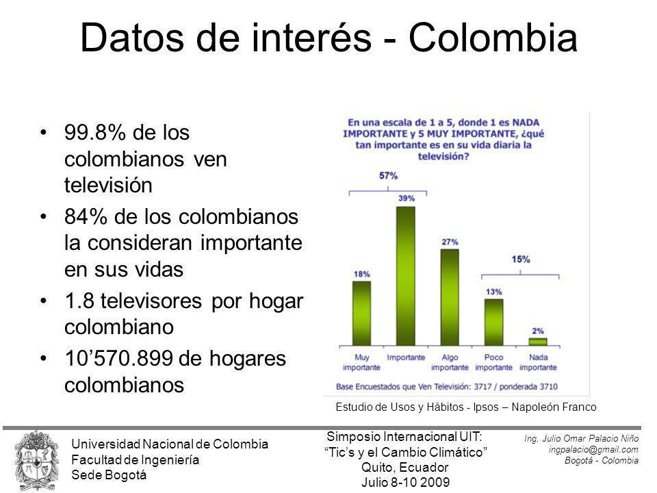 Datos de interés - Colombia 99.8% de los colombianos ven televisión 84% de los colombianos la consideran importante en sus vidas 1.8 televisores por h
