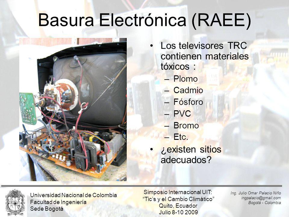 Basura Electrónica (RAEE) Los televisores TRC contienen materiales tóxicos : –Plomo –Cadmio –Fósforo –PVC –Bromo –Etc. ¿existen sitios adecuados? Univ