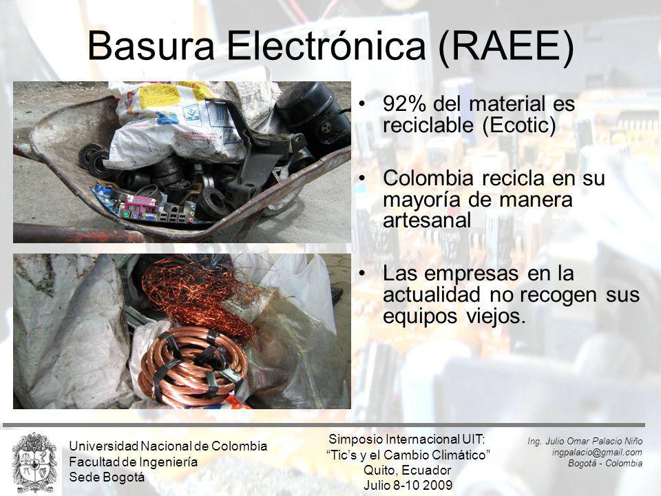 Basura Electrónica (RAEE) 92% del material es reciclable (Ecotic) Colombia recicla en su mayoría de manera artesanal Las empresas en la actualidad no