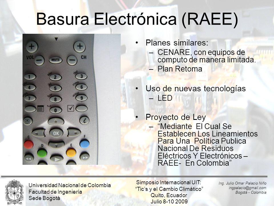 Basura Electrónica (RAEE) Planes similares: –CENARE, con equipos de computo de manera limitada. –Plan Retoma Uso de nuevas tecnologías –LED Proyecto d