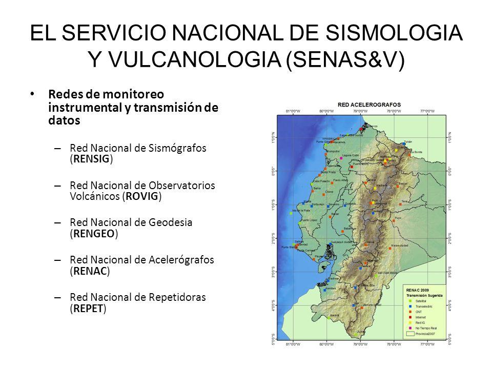 EL SERVICIO NACIONAL DE SISMOLOGIA Y VULCANOLOGIA (SENAS&V) Redes de monitoreo instrumental y transmisión de datos – Red Nacional de Sismógrafos (RENSIG) – Red Nacional de Observatorios Volcánicos (ROVIG) – Red Nacional de Geodesia (RENGEO) – Red Nacional de Acelerógrafos (RENAC) – Red Nacional de Repetidoras (REPET) Centro de Procesamiento, Información y Alerta Sísmica y Volcánica Base Nacional de Datos Sísmicos y Volcánicos