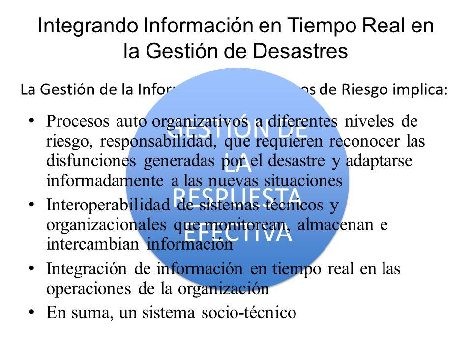 La Gestión de la Información en Entornos de Riesgo implica: GESTIÓN DE LA RESPUESTA EFECTIVA Integrando Información en Tiempo Real en la Gestión de De