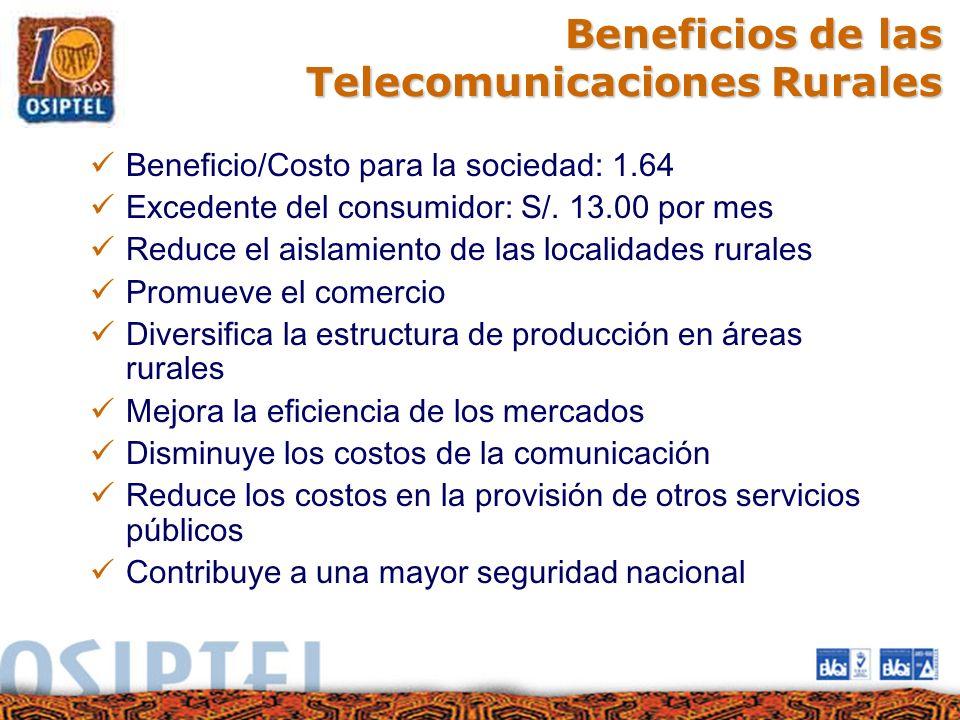 Beneficios de las Telecomunicaciones Rurales Beneficio/Costo para la sociedad: 1.64 Excedente del consumidor: S/. 13.00 por mes Reduce el aislamiento