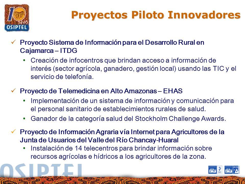 Proyectos Piloto Innovadores Proyecto Sistema de Información para el Desarrollo Rural en Cajamarca – ITDG Creación de infocentros que brindan acceso a