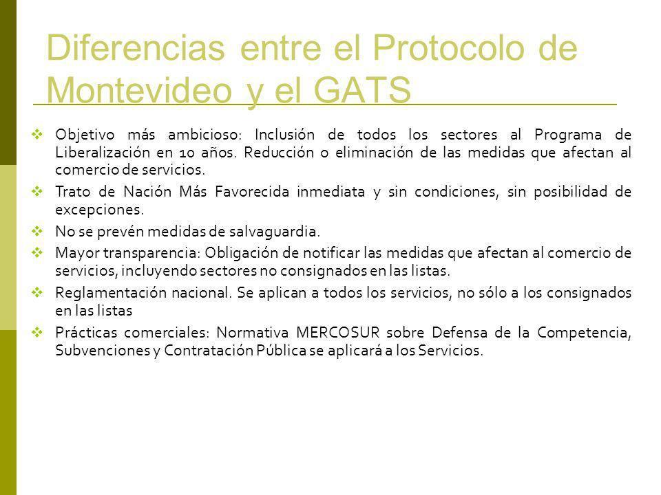 Diferencias entre el Protocolo de Montevideo y el GATS Objetivo más ambicioso: Inclusión de todos los sectores al Programa de Liberalización en 10 año