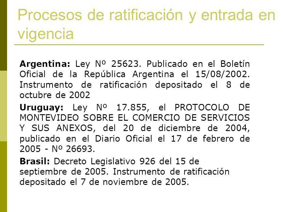 Procesos de ratificación y entrada en vigencia Argentina: Ley Nº 25623. Publicado en el Boletín Oficial de la República Argentina el 15/08/2002. Instr