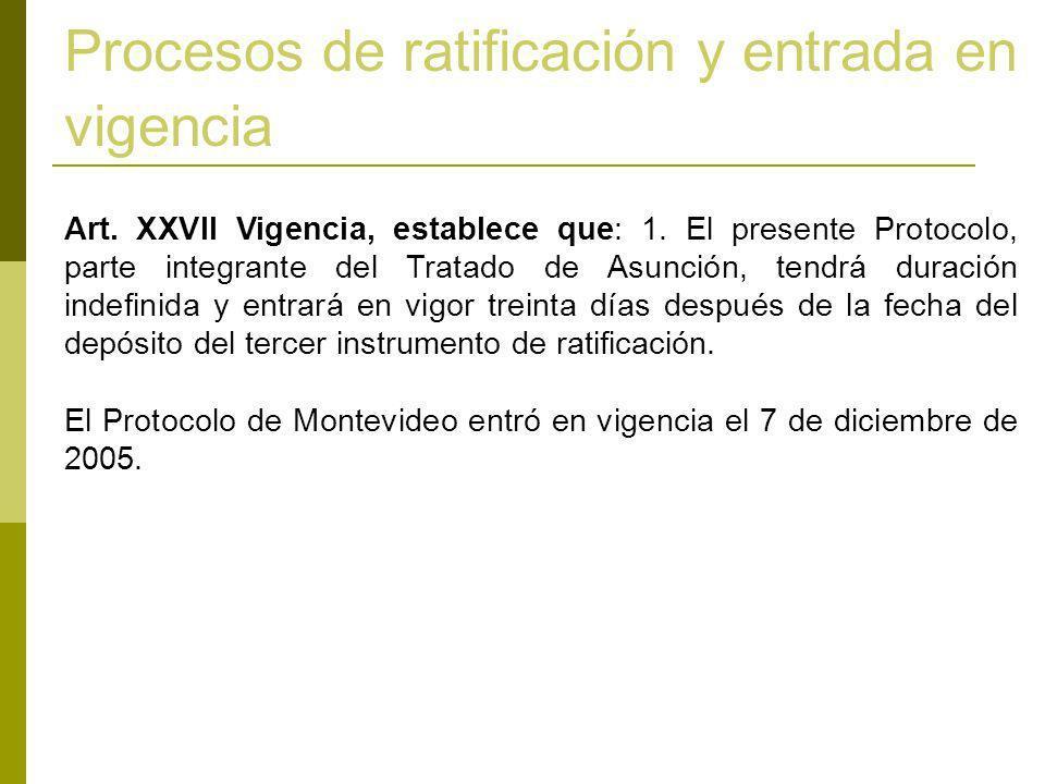 Art. XXVII Vigencia, establece que: 1. El presente Protocolo, parte integrante del Tratado de Asunción, tendrá duración indefinida y entrará en vigor