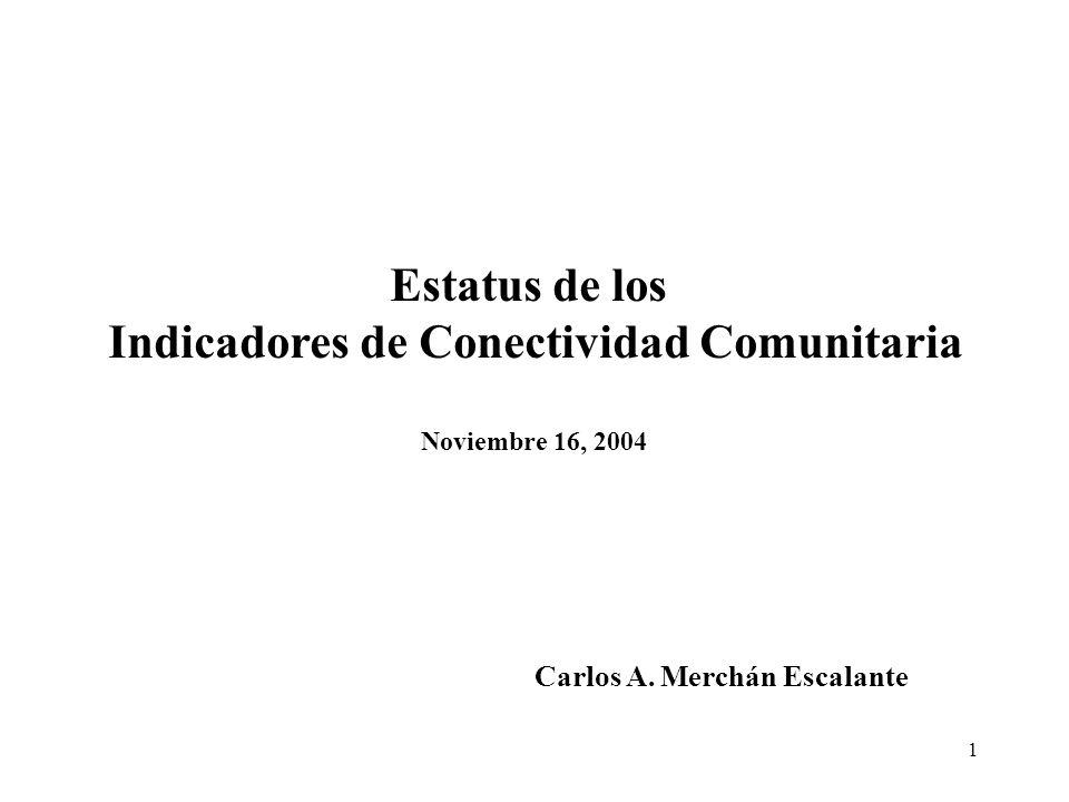 1 Estatus de los Indicadores de Conectividad Comunitaria Noviembre 16, 2004 Carlos A. Merchán Escalante