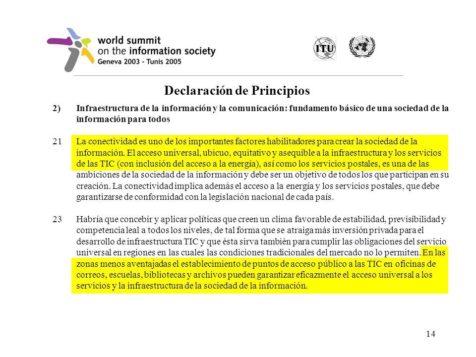 14 Declaración de Principios 2)Infraestructura de la información y la comunicación: fundamento básico de una sociedad de la información para todos 21L