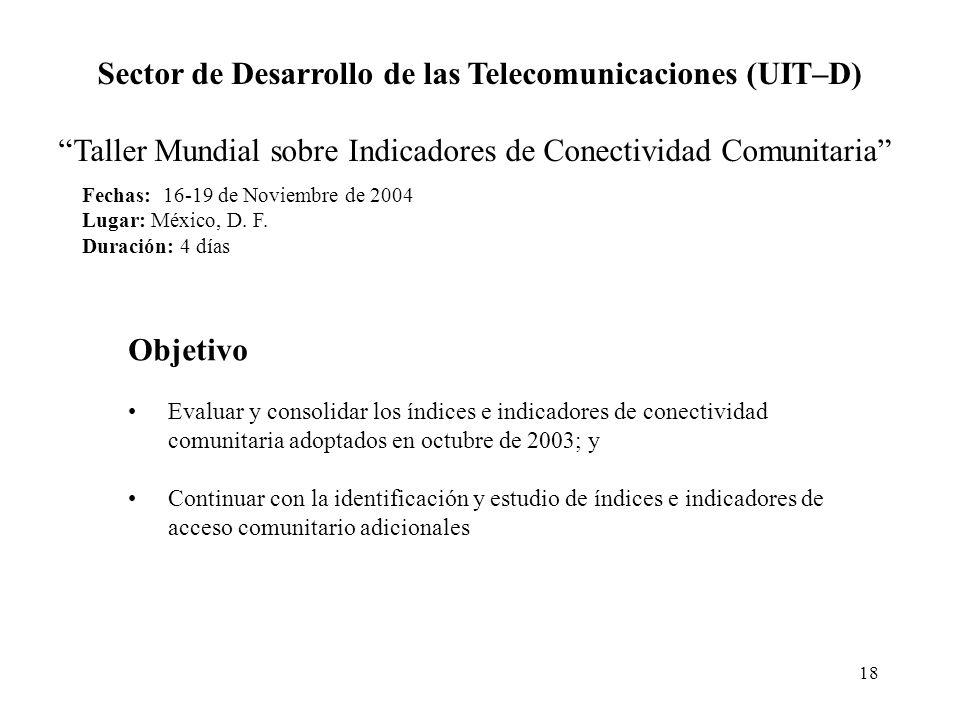 18 Fechas: 16-19 de Noviembre de 2004 Lugar: México, D. F. Duración: 4 días Sector de Desarrollo de las Telecomunicaciones (UIT–D) Taller Mundial sobr