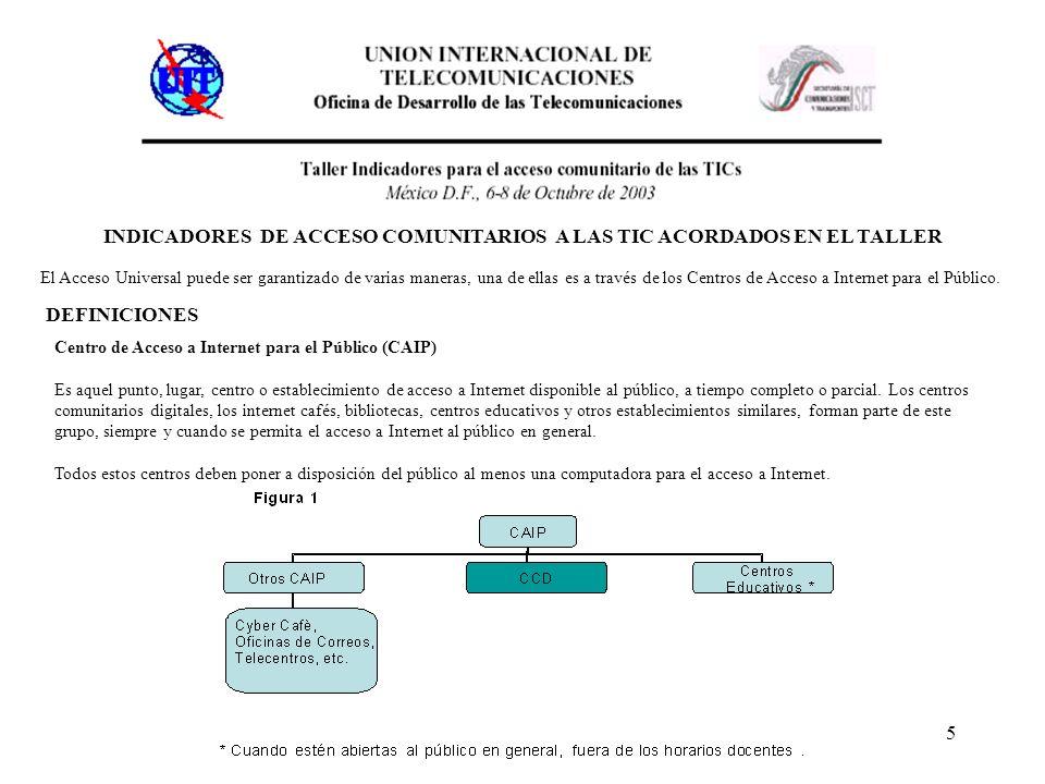 5 INDICADORES DE ACCESO COMUNITARIOS A LAS TIC ACORDADOS EN EL TALLER El Acceso Universal puede ser garantizado de varias maneras, una de ellas es a través de los Centros de Acceso a Internet para el Público.