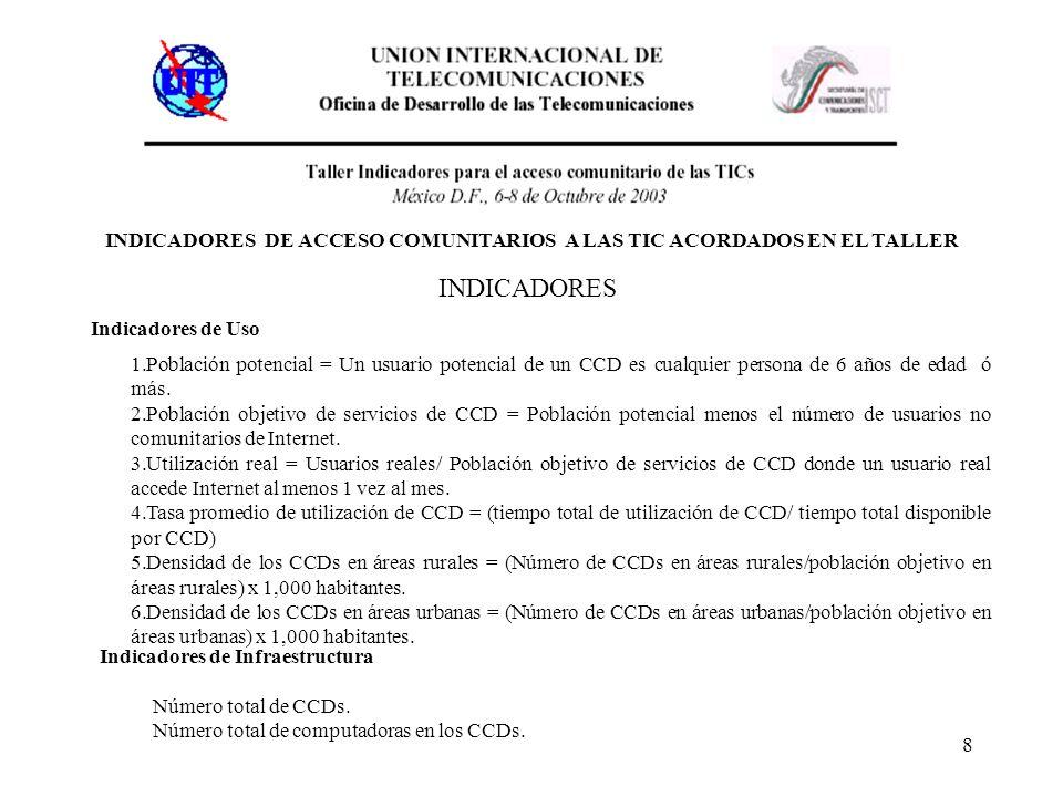 8 INDICADORES DE ACCESO COMUNITARIOS A LAS TIC ACORDADOS EN EL TALLER INDICADORES Indicadores de Uso 1.Población potencial = Un usuario potencial de u