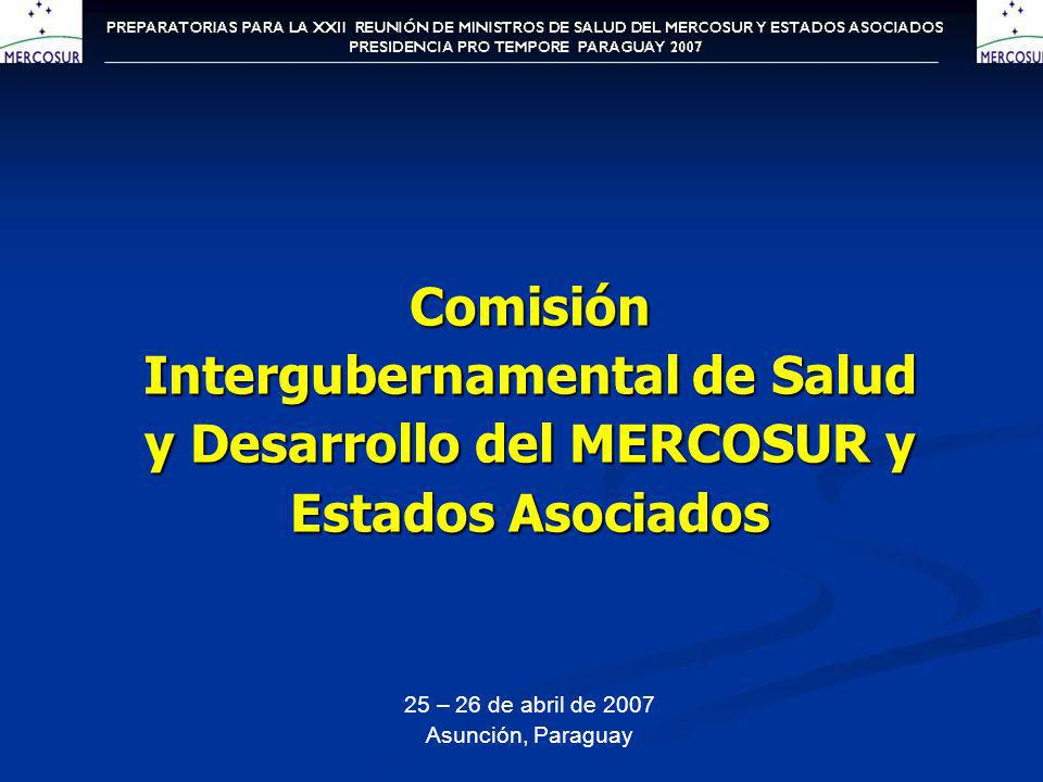 Comisión Intergubernamental de Salud y Desarrollo del MERCOSUR y Estados Asociados 25 – 26 de abril de 2007 Asunción, Paraguay