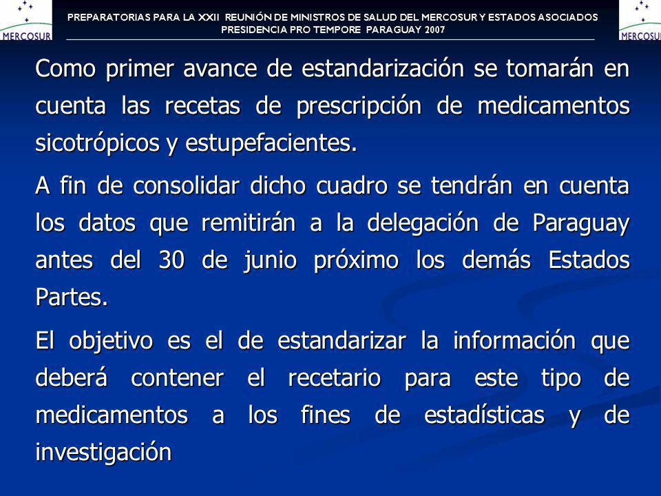 Como primer avance de estandarización se tomarán en cuenta las recetas de prescripción de medicamentos sicotrópicos y estupefacientes. A fin de consol