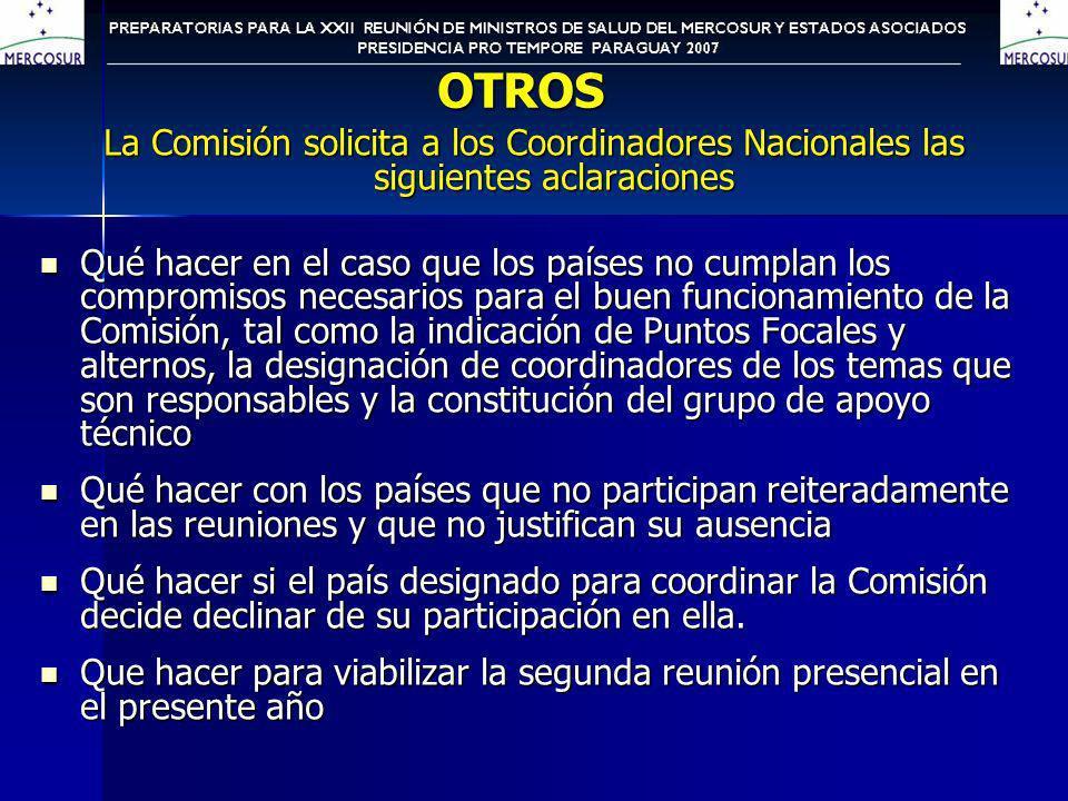 OTROS La Comisión solicita a los Coordinadores Nacionales las siguientes aclaraciones Qué hacer en el caso que los países no cumplan los compromisos n