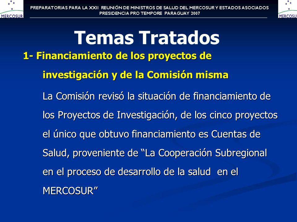 1- Financiamiento de los proyectos de investigación y de la Comisión misma La Comisión revisó la situación de financiamiento de los Proyectos de Inves