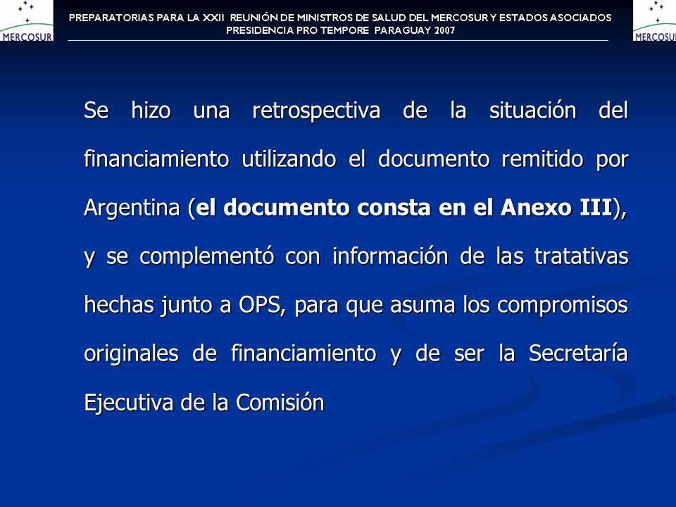 Se hizo una retrospectiva de la situación del financiamiento utilizando el documento remitido por Argentina (el documento consta en el Anexo III), y s