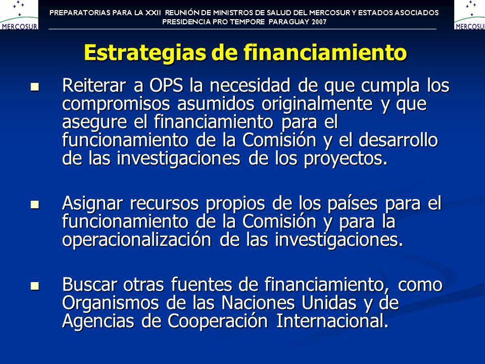 Analizar las posibilidades especificas de financiamiento de cada tema Mantener la coordinación de la obtención de los recursos por los países responsables y corresponsables de cada tema.