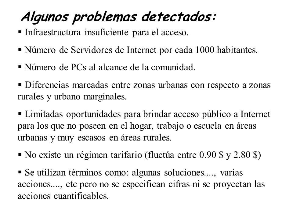 Algunos problemas detectados: Infraestructura insuficiente para el acceso.
