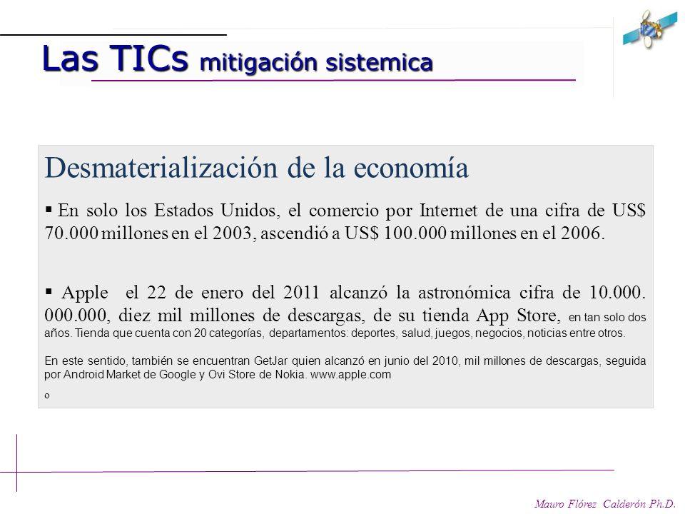 Las TICs y mitigación sistémica Las TICs y mitigación sistémica Mauro Flórez Calderón Ph.D. En los diferentes sectores de la economía para la producci