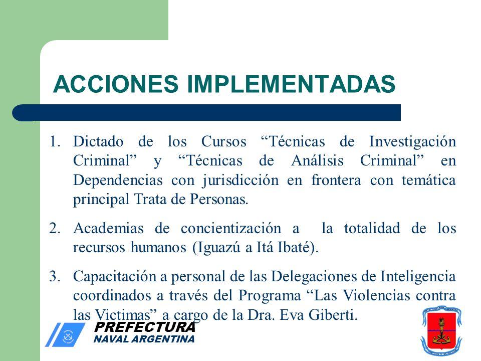 PREFECTURA NAVAL ARGENTINA ACCIONES IMPLEMENTADAS 1.Dictado de los Cursos Técnicas de Investigación Criminal y Técnicas de Análisis Criminal en Dependencias con jurisdicción en frontera con temática principal Trata de Personas.