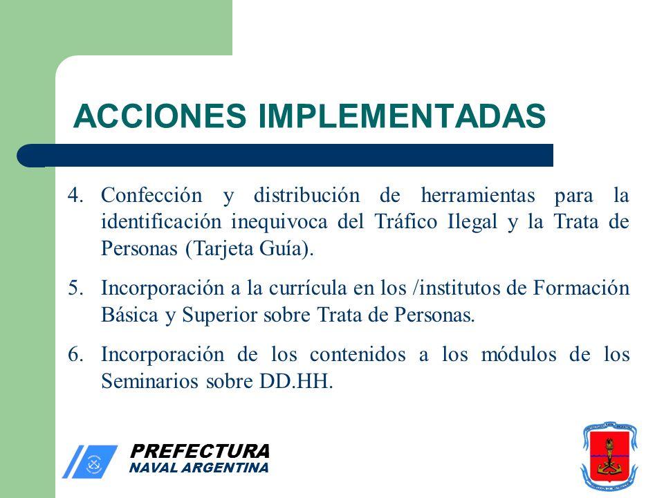PREFECTURA NAVAL ARGENTINA ACCIONES IMPLEMENTADAS 4.Confección y distribución de herramientas para la identificación inequivoca del Tráfico Ilegal y la Trata de Personas (Tarjeta Guía).