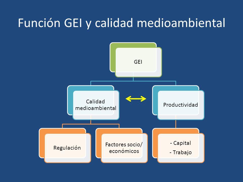 Función GEI y calidad medioambiental GEI Calidad medioambiental Regulación Factores socio/ económicos Productividad - Capital - Trabajo