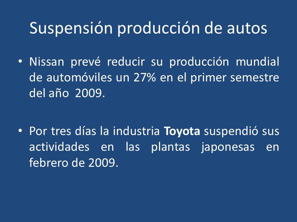 Suspensión producción de autos Nissan prevé reducir su producción mundial de automóviles un 27% en el primer semestre del año 2009.
