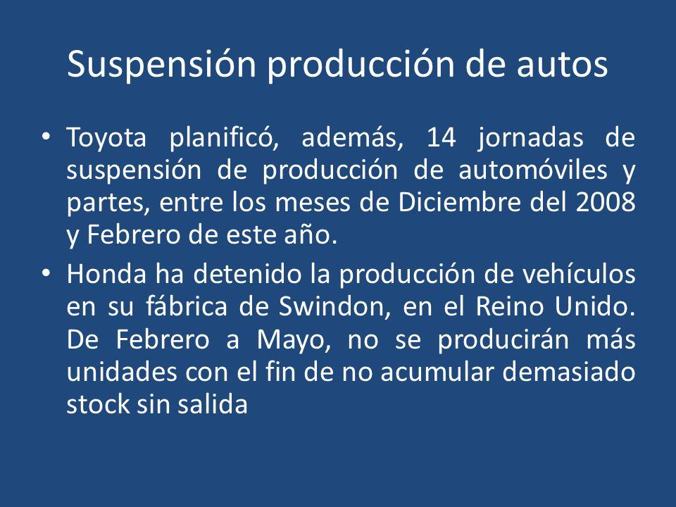 Suspensión producción de autos Toyota planificó, además, 14 jornadas de suspensión de producción de automóviles y partes, entre los meses de Diciembre del 2008 y Febrero de este año.
