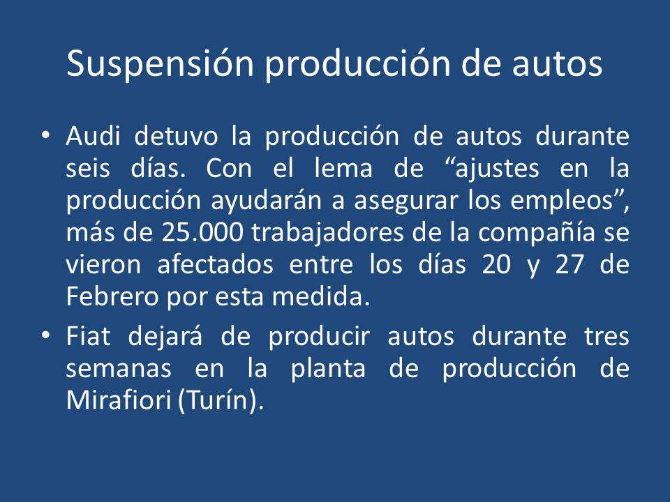 Suspensión producción de autos Audi detuvo la producción de autos durante seis días.