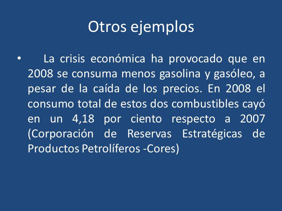 Otros ejemplos La crisis económica ha provocado que en 2008 se consuma menos gasolina y gasóleo, a pesar de la caída de los precios.