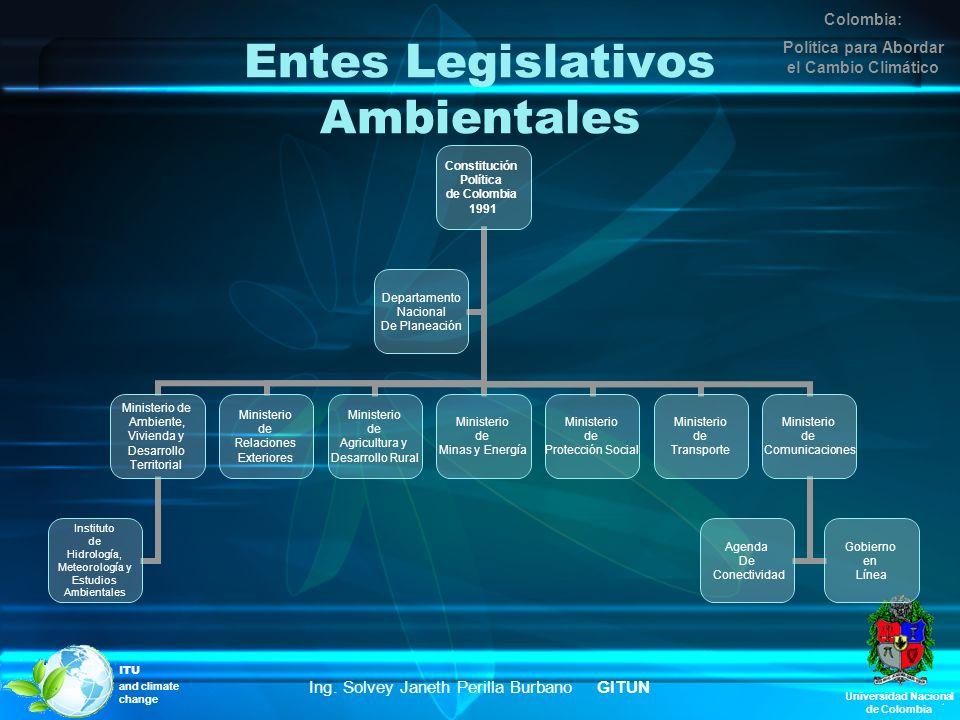 Universidad Nacional de Colombia Entes Legislativos Ambientales Constitución Política de Colombia 1991 Ministerio de Ambiente, Vivienda y Desarrollo T